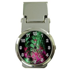 Pink And Green Shapes Make A Pretty Fractal Image Money Clip Watches