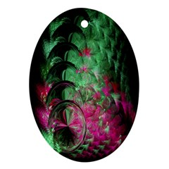 Pink And Green Shapes Make A Pretty Fractal Image Oval Ornament (two Sides)