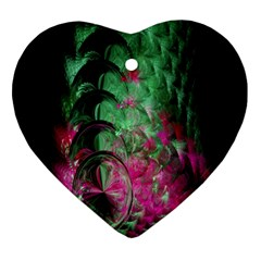 Pink And Green Shapes Make A Pretty Fractal Image Heart Ornament (Two Sides)