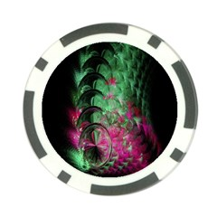 Pink And Green Shapes Make A Pretty Fractal Image Poker Chip Card Guard (10 Pack)