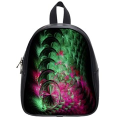 Pink And Green Shapes Make A Pretty Fractal Image School Bags (Small)