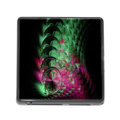 Pink And Green Shapes Make A Pretty Fractal Image Memory Card Reader (square)