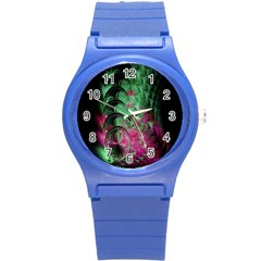 Pink And Green Shapes Make A Pretty Fractal Image Round Plastic Sport Watch (S)