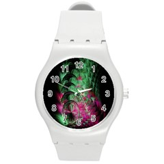Pink And Green Shapes Make A Pretty Fractal Image Round Plastic Sport Watch (m)