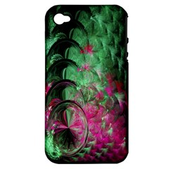 Pink And Green Shapes Make A Pretty Fractal Image Apple iPhone 4/4S Hardshell Case (PC+Silicone)