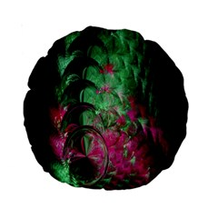 Pink And Green Shapes Make A Pretty Fractal Image Standard 15  Premium Round Cushions