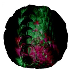 Pink And Green Shapes Make A Pretty Fractal Image Large 18  Premium Round Cushions