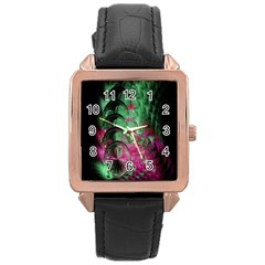 Pink And Green Shapes Make A Pretty Fractal Image Rose Gold Leather Watch