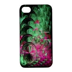 Pink And Green Shapes Make A Pretty Fractal Image Apple iPhone 4/4S Hardshell Case with Stand