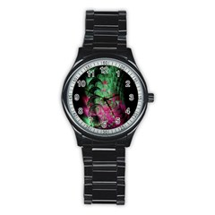 Pink And Green Shapes Make A Pretty Fractal Image Stainless Steel Round Watch