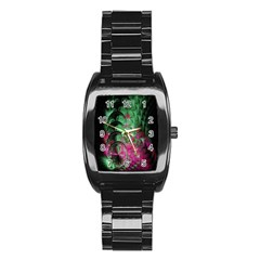 Pink And Green Shapes Make A Pretty Fractal Image Stainless Steel Barrel Watch