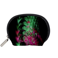 Pink And Green Shapes Make A Pretty Fractal Image Accessory Pouches (Small)