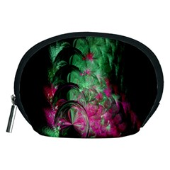Pink And Green Shapes Make A Pretty Fractal Image Accessory Pouches (Medium)