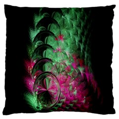 Pink And Green Shapes Make A Pretty Fractal Image Large Flano Cushion Case (Two Sides)