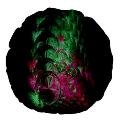 Pink And Green Shapes Make A Pretty Fractal Image Large 18  Premium Flano Round Cushions