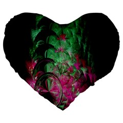 Pink And Green Shapes Make A Pretty Fractal Image Large 19  Premium Flano Heart Shape Cushions