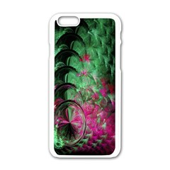 Pink And Green Shapes Make A Pretty Fractal Image Apple iPhone 6/6S White Enamel Case