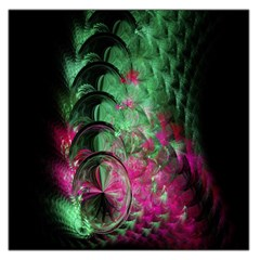 Pink And Green Shapes Make A Pretty Fractal Image Large Satin Scarf (square)