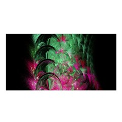 Pink And Green Shapes Make A Pretty Fractal Image Satin Shawl