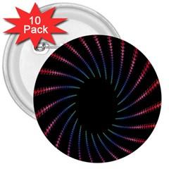 Fractal Black Hole Computer Digital Graphic 3  Buttons (10 Pack)