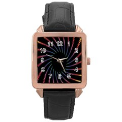 Fractal Black Hole Computer Digital Graphic Rose Gold Leather Watch