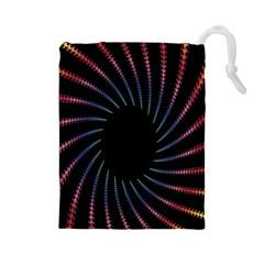 Fractal Black Hole Computer Digital Graphic Drawstring Pouches (Large)