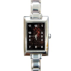 July 4th Fireworks Party Rectangle Italian Charm Watch