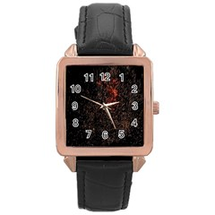 July 4th Fireworks Party Rose Gold Leather Watch