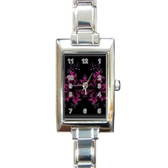 Violet Fractal On Black Background In 3d Glass Frame Rectangle Italian Charm Watch