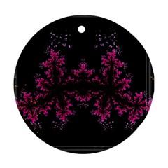 Violet Fractal On Black Background In 3d Glass Frame Ornament (round)