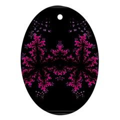 Violet Fractal On Black Background In 3d Glass Frame Ornament (Oval)