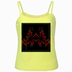 Violet Fractal On Black Background In 3d Glass Frame Yellow Spaghetti Tank