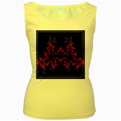 Violet Fractal On Black Background In 3d Glass Frame Women s Yellow Tank Top