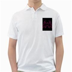 Violet Fractal On Black Background In 3d Glass Frame Golf Shirts
