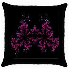 Violet Fractal On Black Background In 3d Glass Frame Throw Pillow Case (Black)