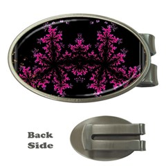 Violet Fractal On Black Background In 3d Glass Frame Money Clips (oval)