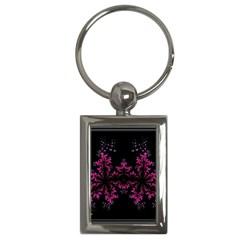 Violet Fractal On Black Background In 3d Glass Frame Key Chains (rectangle)