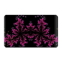 Violet Fractal On Black Background In 3d Glass Frame Magnet (rectangular)