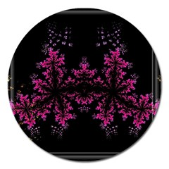 Violet Fractal On Black Background In 3d Glass Frame Magnet 5  (Round)