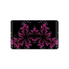 Violet Fractal On Black Background In 3d Glass Frame Magnet (name Card)
