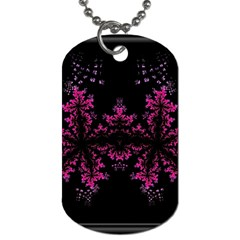 Violet Fractal On Black Background In 3d Glass Frame Dog Tag (one Side)