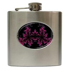 Violet Fractal On Black Background In 3d Glass Frame Hip Flask (6 oz)