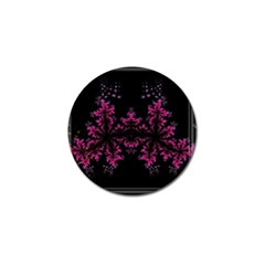 Violet Fractal On Black Background In 3d Glass Frame Golf Ball Marker
