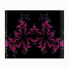 Violet Fractal On Black Background In 3d Glass Frame Small Glasses Cloth