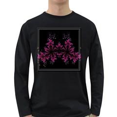 Violet Fractal On Black Background In 3d Glass Frame Long Sleeve Dark T-Shirts