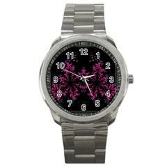 Violet Fractal On Black Background In 3d Glass Frame Sport Metal Watch