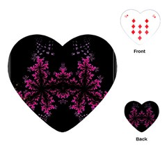 Violet Fractal On Black Background In 3d Glass Frame Playing Cards (Heart)