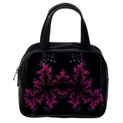 Violet Fractal On Black Background In 3d Glass Frame Classic Handbags (one Side)