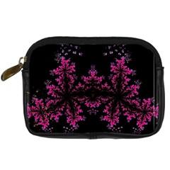 Violet Fractal On Black Background In 3d Glass Frame Digital Camera Cases