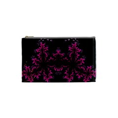 Violet Fractal On Black Background In 3d Glass Frame Cosmetic Bag (small)
